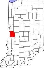 Map of Indiana showing Parke County - Click on map for a greater detail.