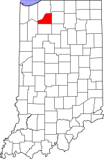 Map of Indiana showing Starke County - Click on map for a greater detail.