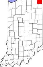 Map of Indiana showing Steuben County - Click on map for a greater detail.
