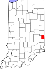 Map of Indiana showing Union County - Click on map for a greater detail.
