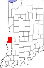 Map of Indiana showing Vigo County - Click on map for a greater detail.
