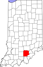 Map of Indiana showing Washington County - Click on map for a greater detail.