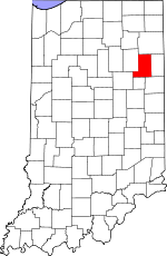 Map of Indiana showing Wells County - Click on map for a greater detail.