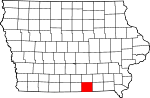 Map of Iowa showing Appanoose County - Click on map for a greater detail.