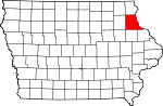 Map of Iowa showing Clayton County - Click on map for a greater detail.