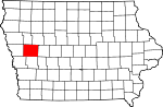 Map of Iowa showing Crawford County - Click on map for a greater detail.