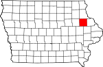 Map of Iowa showing Delaware County - Click on map for a greater detail.