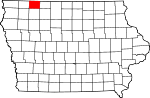 Map of Iowa showing Dickinson County - Click on map for a greater detail.