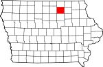 Map of Iowa showing Floyd County - Click on map for a greater detail.