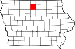 Map of Iowa showing Hancock County - Click on map for a greater detail.