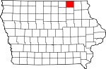 Map of Iowa showing Howard County - Click on map for a greater detail.