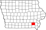 Map of Iowa showing Jefferson County - Click on map for a greater detail.