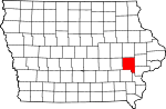 Map of Iowa showing Johnson County - Click on map for a greater detail.