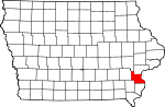 Map of Iowa showing Louisa County - Click on map for a greater detail.