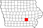 Map of Iowa showing Mahaska County - Click on map for a greater detail.
