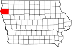 Map of Iowa showing Plymouth County - Click on map for a greater detail.