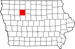 Map of Iowa showing Pocahontas County - Click on map for a greater detail.