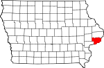 Map of Iowa showing Scott County - Click on map for a greater detail.