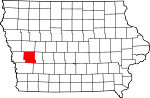 Map of Iowa showing Shelby County - Click on map for a greater detail.