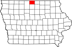 Map of Iowa showing Winnebago County - Click on map for a greater detail.