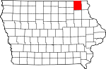 Map of Iowa showing Winneshiek County - Click on map for a greater detail.