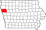 Map of Iowa showing Woodbury County - Click on map for a greater detail.