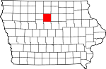 Map of Iowa showing Wright County - Click on map for a greater detail.