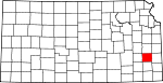 Map of Kansas showing Allen County - Click on map for a greater detail.