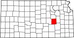 Map of Kansas showing Chase County - Click on map for a greater detail.