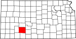 Map of Kansas showing Ford County - Click on map for a greater detail.