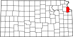 Map of Kansas showing Leavenworth County - Click on map for a greater detail.