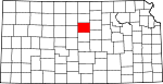 Map of Kansas showing Lincoln County - Click on map for a greater detail.