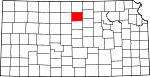 Map of Kansas showing Mitchell County - Click on map for a greater detail.