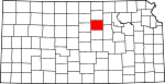 Map of Kansas showing Ottawa County - Click on map for a greater detail.
