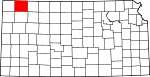 Map of Kansas showing Rawlins County - Click on map for a greater detail.