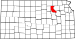 Map of Kansas showing Riley County - Click on map for a greater detail.