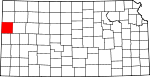 Map of Kansas showing Wallace County - Click on map for a greater detail.