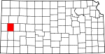Map of Kansas showing Wichita County - Click on map for a greater detail.