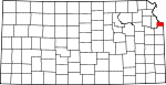 Map of Kansas showing Wyandotte County - Click on map for a greater detail.
