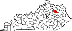 Map of Kentucky showing Bath County - Click on map for a greater detail.