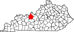 Map of Kentucky showing Breckinridge County - Click on map for a greater detail.