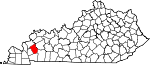 Map of Kentucky showing Caldwell County - Click on map for a greater detail.
