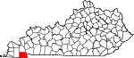 Map of Kentucky showing Calloway County - Click on map for a greater detail.