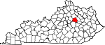 Map of Kentucky showing Clark County - Click on map for a greater detail.