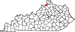 Map of Kentucky showing Gallatin County - Click on map for a greater detail.