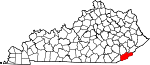 Map of Kentucky showing Harlan County - Click on map for a greater detail.