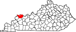 Map of Kentucky showing Henderson County - Click on map for a greater detail.