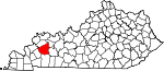 Map of Kentucky showing Hopkins County - Click on map for a greater detail.