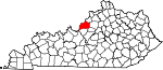 Map of Kentucky showing Jefferson County - Click on map for a greater detail.