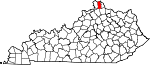 Map of Kentucky showing Kenton County - Click on map for a greater detail.